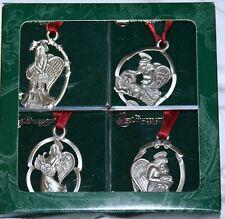 Vintage Longaberger Angel Pewter Holiday Ornaments - Set of 4: 1993-1996