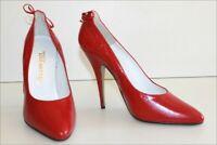 LINE SETTER Diffusion Escarpins Vintage Tout Cuir Rouge Talons Hauts T 38 TTBE