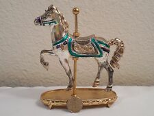 """Old Tfm The Franklin Mint Heavy Metal Carousel Horse ~ 4 1/2"""" Tall ~ Wt 13 oz"""