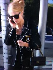CHANEL 05C MOST WANTED BLACK BLUE Tweed Chanel #5 Jacket Gold Silver Patch FR40