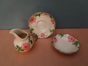 """3 PIECES OF FRANCISCAN """"DESERT ROSE"""" CHINA - JUG, SMALL BOWL AND SAUCER"""