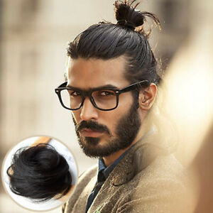 Man Straight Human Hair  Bun – Instant Clip On Bun 100% Human Hair Extension