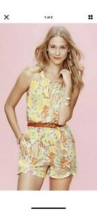 Lilly Pulitzer For Target Yellow Romper Floral Orange Pink Size XS NWT New Small
