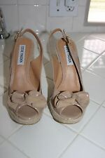 Steve Madden Fauntain Nude Patent Leather/Open Toe Rope Wedge Sandal-Size 6