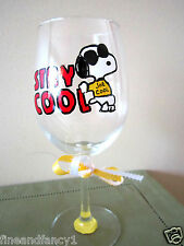 Hand Painted Wine Glass  Snoopy JOE COOL  Stay Cool 12 oz.