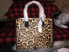 AUTHENTIC MICHAEL KORS MERCER LEOPARD LARGE BUTTERSCOTCH CALF HAIR TOTE NWT