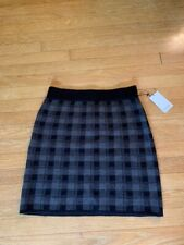 New With Tags! Adrienne Vittadini Knit Plaid Mini Skirt gray and black - Size M