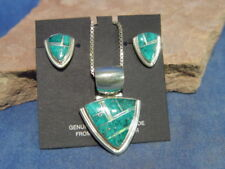 Navajo Turquoise Inlaid Earring and Necklace set by Albert Francisco