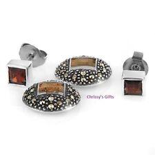 Earrings With 0.86ctw Precious Stones - Genuine Garnets  BOMA
