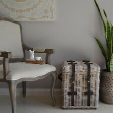 High Quality Cane Trunk/Whitewash with Genuine Leather Strap/Side Table/Coffee
