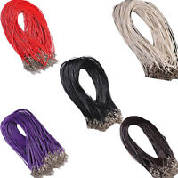 10Pcs 1.5mm Real Leather Rope Necklace String Cord Findings Adjustable Chain New