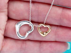 Tiffany & Co 18K Gold Silver Elsa Peretti Open Hearts 16mm 11mm Necklace
