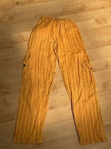 yellow stripe summer trousers size M/L fit 12 14