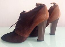 Diana Broussard Chunky Heel Ankle Bootie Boots Shoes, Pony Hair Lace Up Sz EU 40