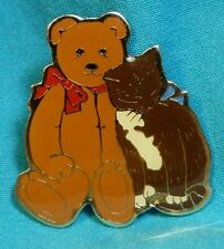 Schmid Goldtone Enamel Bear With Cat Brooch Pin Vintage 1984