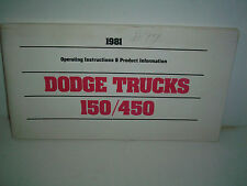 1981 Dodge Truck 150 / 450 owners manual