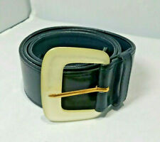 Black Leather Belt Mondi Accessories Vintage Pearl look Buckle