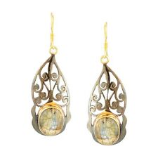 Traditional Ethnic Yellow Gold Plated Silver Labradorite Drop Earrings Jewelry