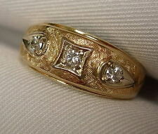 from an estate - GENTS 14K YELLOW GOLD 3 DIAMOND RING - APPROX. .30 CT. TW