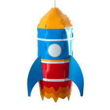Childrens Boys Bedroom Nursery Space Rocket Ceiling Pendant Light Lamp Shade NEW