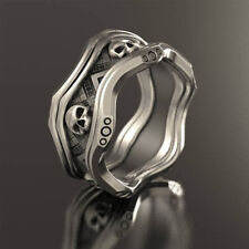 Cool 925 Silver Skeleton Skull Band Ring Band Women Men Biker Jewelry Size 10
