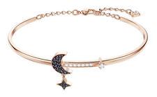Swarovski Duo Moon Bangle Women's Bracelet - Black, Rose Gold Plated