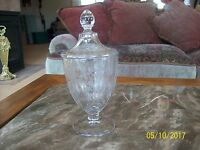 Crystal Etched Floral & Leaf Footed Covered Elegant Glass Compote Candy Dish