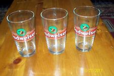 Set of 3 Budweiser Drinking Glasses Official Product Red Label