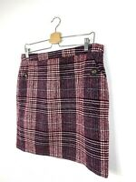 Arabella and Addison Skirt UK 14 Burgundy Hounds Tooth Wool Blend NEW Winter