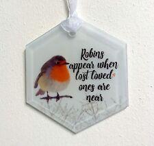 Robin Hexagonal Memorial Glass Hanging Christmas Tree Decoration Ornament Gift