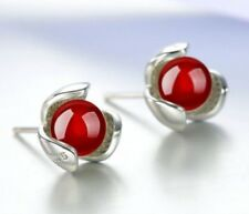 S925 Sterling Silver Natural Red Agate Clover Stud Earrings