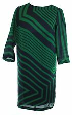 Stella McCartney Shift Dress Green and Navy Silk Small UK 8 IT 38 EU 36