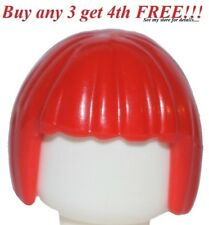 ☀️NEW Lego Minifig Hair Female Girl Bright Red Short Bob Cut Agents Page