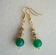 Green Quartz Gemstone Bead Gold Plated Vintage Styled Drop Earrings