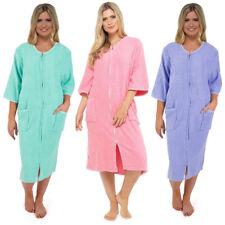 Ladies 100% Cotton Towelling Robes Bathrobe Dressing Gown Wrap Kimono  zip LN