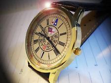 White Ensign, Bridge Telegraph Design, Royal Navy Style Gold Plated Wrist Watch.