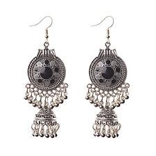 Women Bohemian Vintage Engrave Round Resin Tassel Drop Dangle Bead Hook Earrings