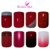 False Nails Red Glitter Gel Matte Fake French Manicure 24 Medium Tips