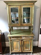 French Display Cabinet Shabby Chic Furniture Green Glass Door Tall Storage Unit