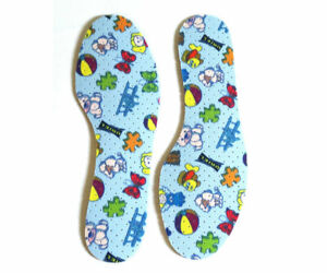 KIDS BOYS GIRLS BLUE PATTERNED PERFORATED INSOLES SIZE  7/8 9/10 11/12 13 1 2/3