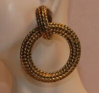 Vintage Large Textured Gold Tone Dangling Hoop Clip On Back Earrings P184