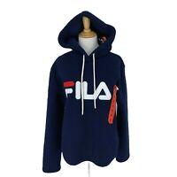 Fila Sherpa Hoodie Women's Size M Dark Blue Fleece Sweater Casual Pullover New *