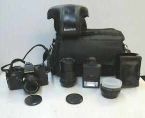 Vintage Mamiya ZE Quartz SLR Film Camera/ Sekor E 50mm 1:2 & 135mm 1:3.5 lens