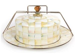 MacKenzie-Childs PARCHMENT CHECK  Cake Carrier - HTF