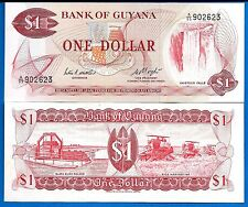 Guyana P-21 One Dollar ND 1992 Waterfall a/Uncirculated Banknote South America