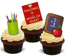 NOVELTY TEACHING TEACHER MIX 12 STAND UP Edible Premium Cake Toppers New Job