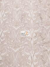 BABY ANGEL DAMASK LACE MESH FABRIC - Mauve - BY THE YARD DRESS DECOR BRIDAL