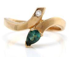 .22 Carat Natural Green Tourmaline and Diamond 14K Solid Yellow Gold Women Ring