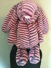 Jellycat Medium Coral pink with Grey Stripe Bunny nwot