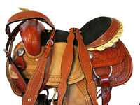 BARREL SADDLE PLEASURE HORSE SHOW RACING TOOLED LEATHER WESTERN TACK SET 15 16